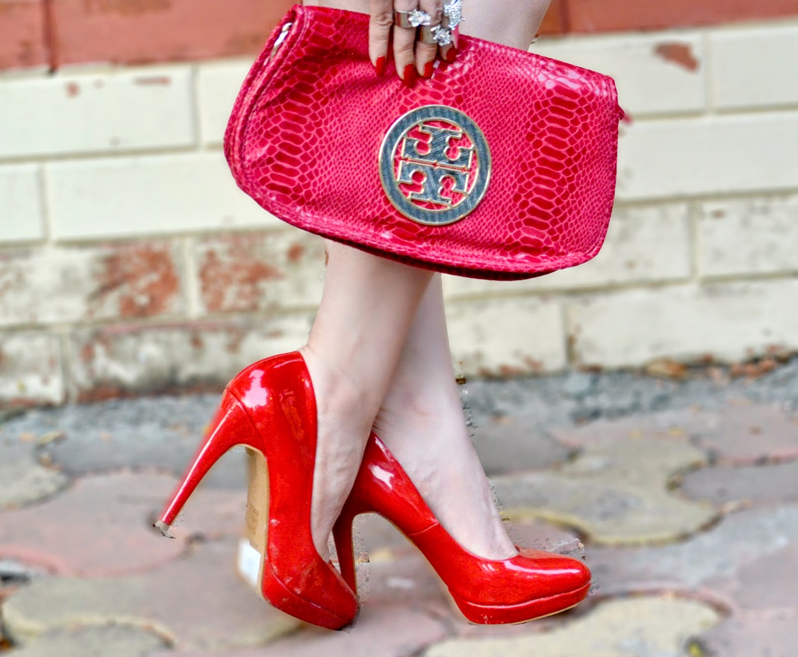Red Aldo Heels & Red Snakeskin Tory Burch Clutch