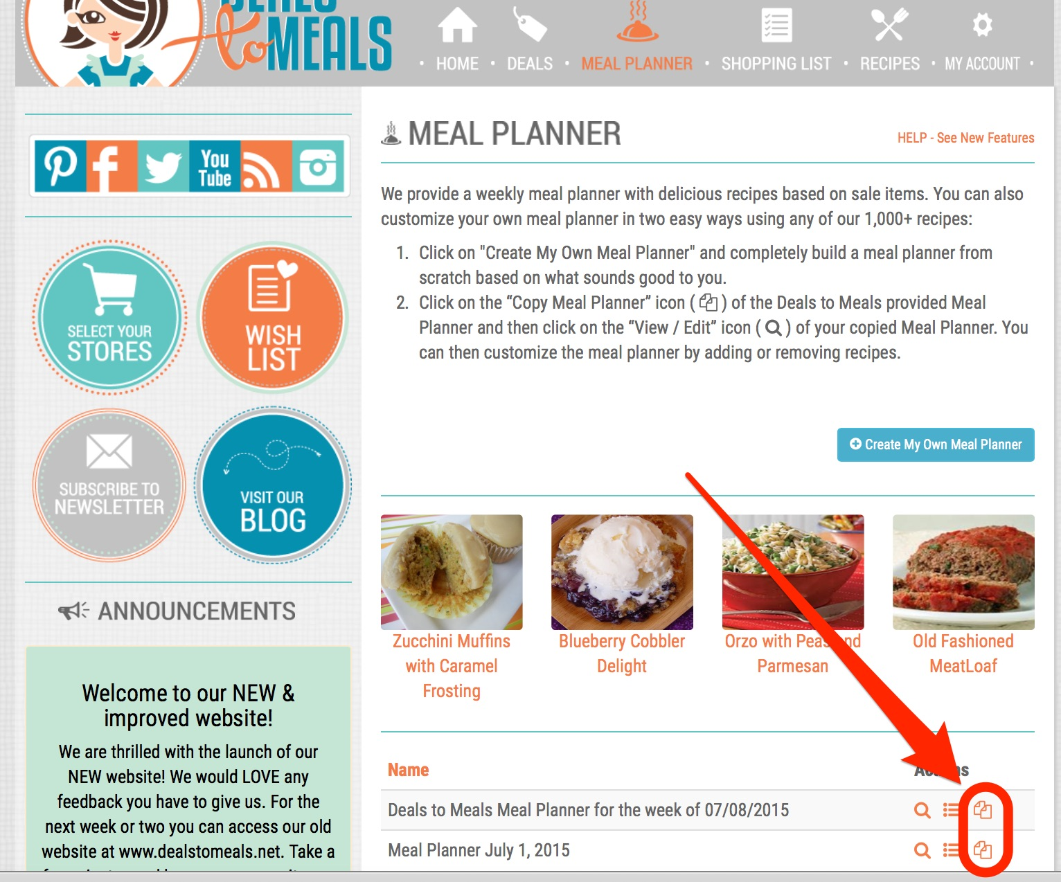 creating your grocery list using your own meal planner or recipes