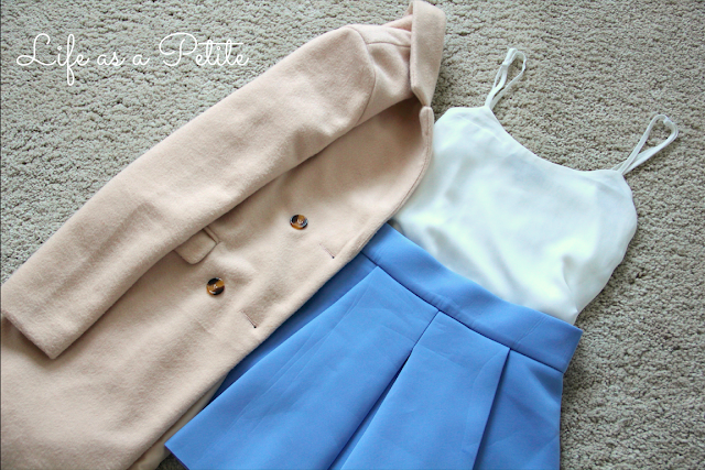 White Chiffon Cami, Powder Blue Skater Skirt, Apricot Pale Pink Faux Wool Coat - Outfit Inspiration - Life as a Petite