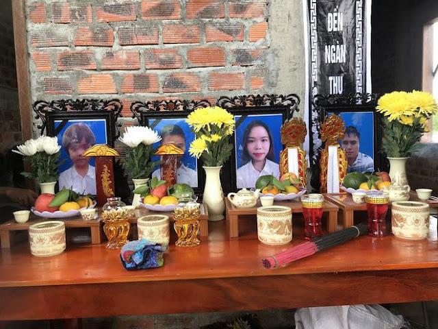 4 bức di ảnh của 4 nạn nhân trên bàn thờ lập vội