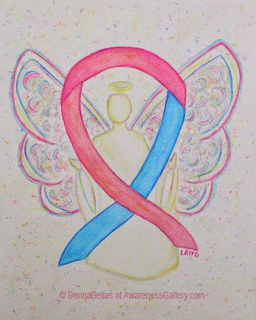 Pink and Blue Guardian Baby Angel Awareness Ribbon Image Picture