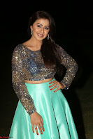 Nikki Galrani in Green Skirt  Top at Marakathamani music launch ~  Exclusive (136).JPG