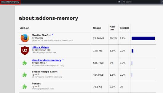 تسريع فايرفوكس: تعطيل الاضافات
