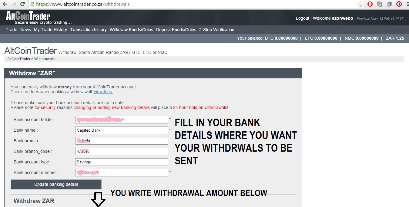 Altcoin Trader bitcoinsouthafrica: how to: using altcointrader to buy sell