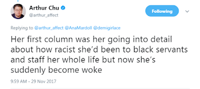 @arthur_affect  Her first column was her going into detail about how racist she'd been to black servants and staff her whole life but now she's suddenly become woke
