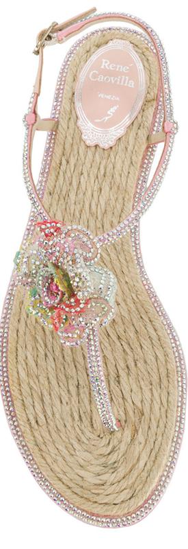 Rene Caovilla Embellished Flower Sandal