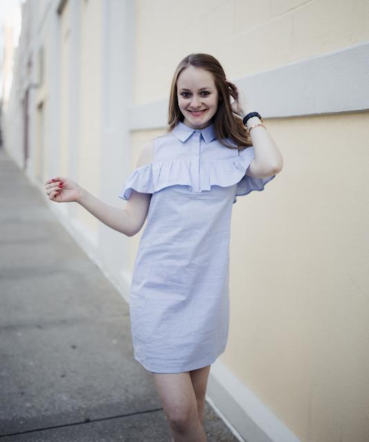 Blue-Ruffle-Cold-Shoulder-Dress