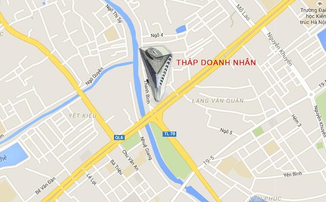 Vị trí tháp doanh nhân Hà Đông