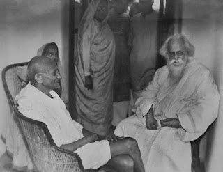 Robindranath Tagore with Mahatma Gandhi