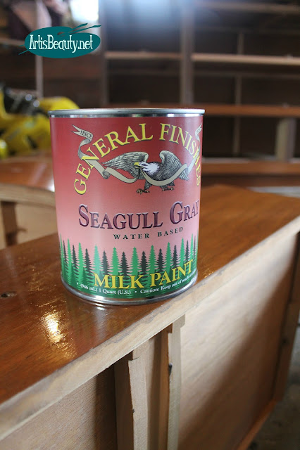 general finishes seagull gray water based milk paint mcm mid century mod painted dresser makeover