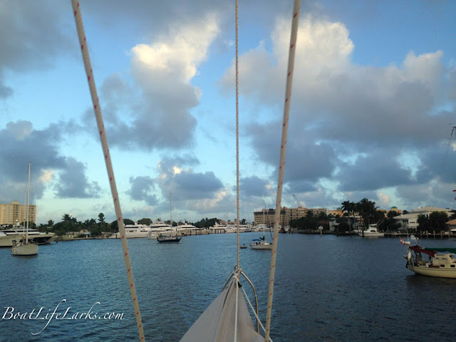 Sailboats anchored in Middle River Ft Lauderdale