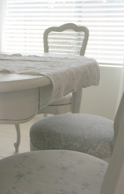 Shabby Chic Couture linen fabric covered dining chairs on Hello Lovely Studio