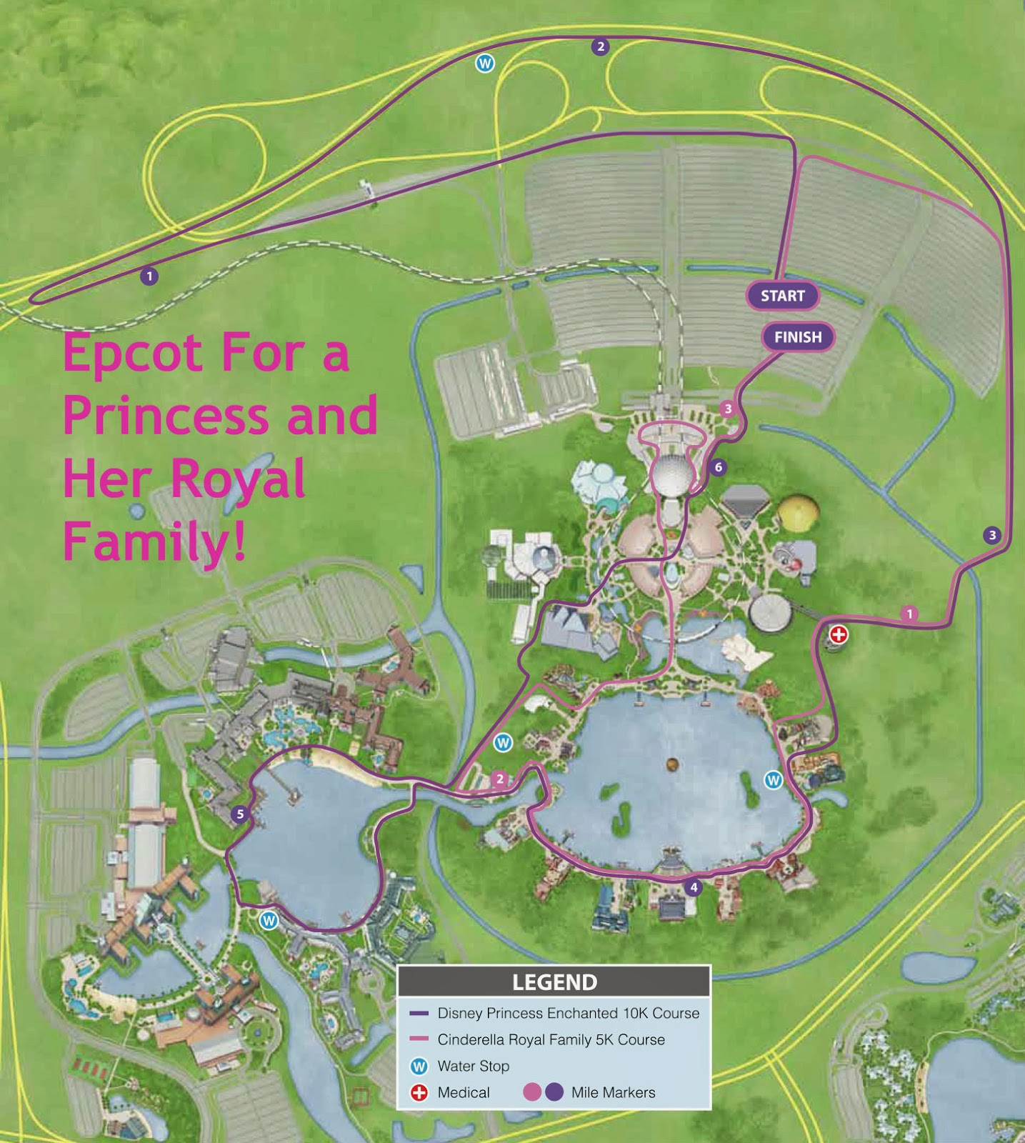 Enchanted Routes Through Epcot 10k And 5k Course Maps Kessel