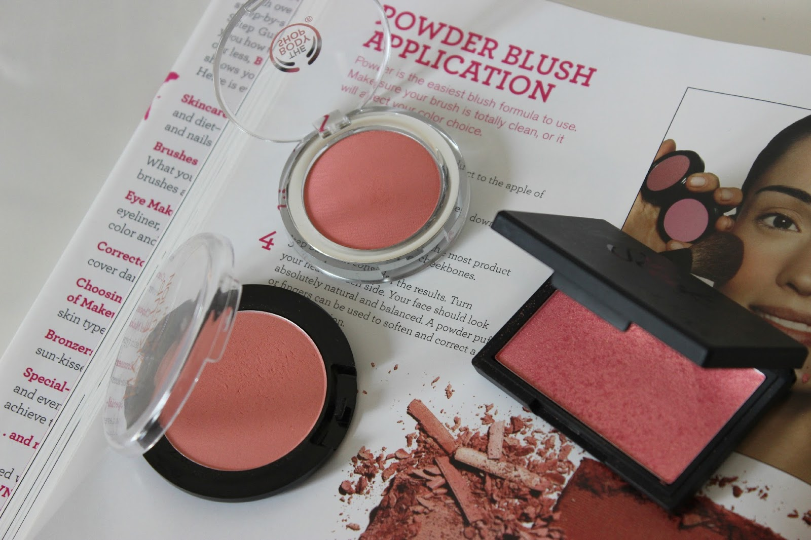 A picture of high-street powder blushes including The Body Shop, Makeup Revolution and Sleek