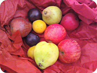 Comice Pears, Red Williams Pears, Royal Gala Apples, Sonogold Plums and Angeleno in box