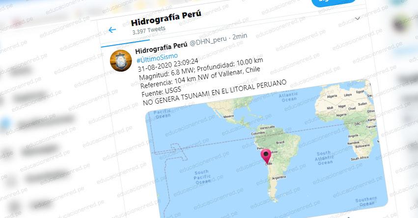 Potente sismo en Chile no genera Tsunami en el Litoral Peruano, informó la Marina de Guerra del Perú - www.dhn.mil.pe