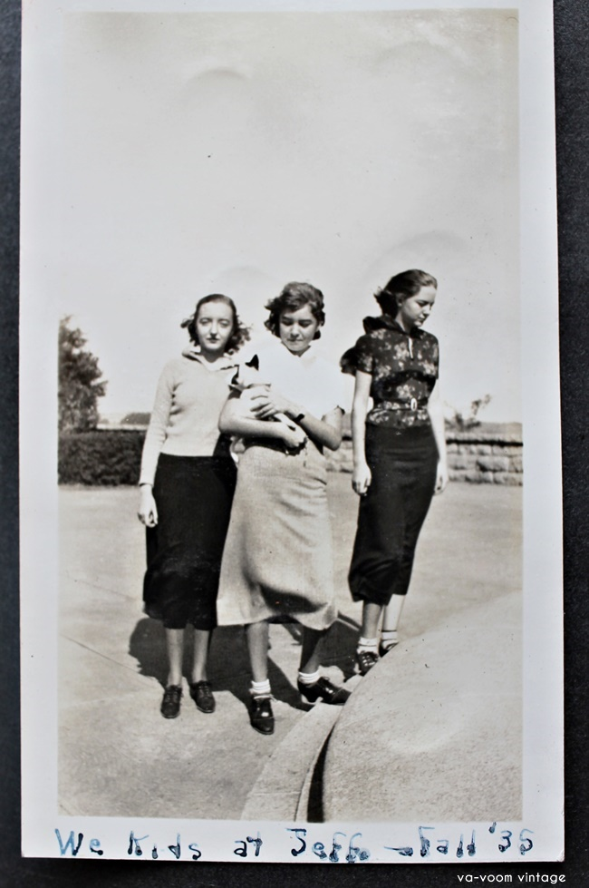 1935 teenage fashions family photos of Alma, Clair and Nita  via va-voom vintage