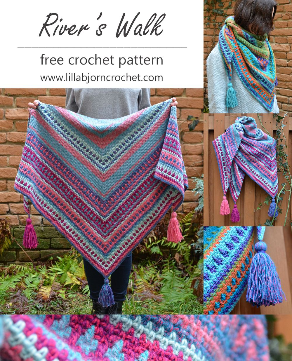 River's Walk Shawl - FREE crochet pattern by www.lillabjorncrochet.com
