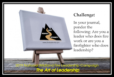 easel and canvas with WFLDP logo (Challenge #17: Art of Leadership In your journal, ponder the following: Are you a leader who does fire work or are you a firefighter who does leadership?)
