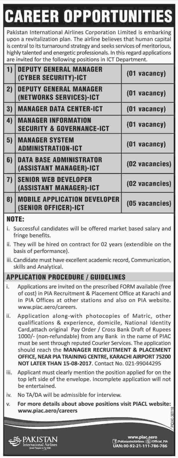 Jobs In Pakistan International Airlines PIA Karachi  2 Aug 2017