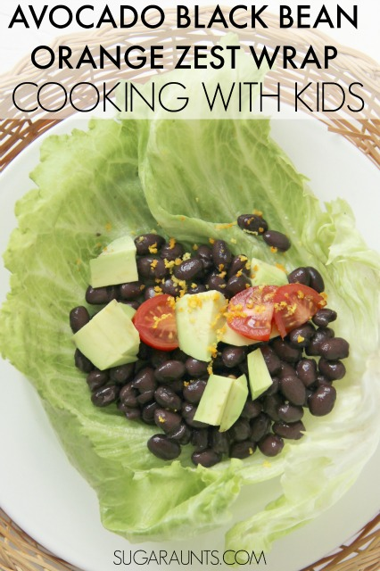 Avocado Black Bean Lettuce Wrap with Orange Zest. This recipe is so easy and filling that kids can make it and it fills them up! You dont even need dressing with the orange zest! It's healthy and low-calorie.