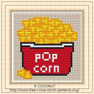 Popcorn, Free and easy printable cross stitch pattern
