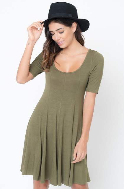 Buy Now olive Paneled Flared Dress Online $34 -@caralase.com