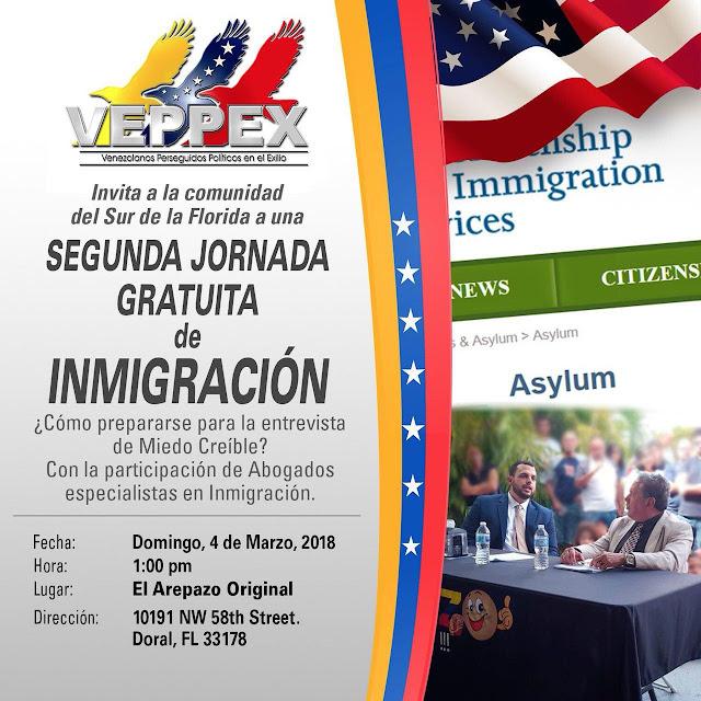 VEPPEX ANUNCIA SEGUNDA JORNADA GRATUITA DE INMIGRACION MARZO 4, 2018 AREPAZO ORIGINAL