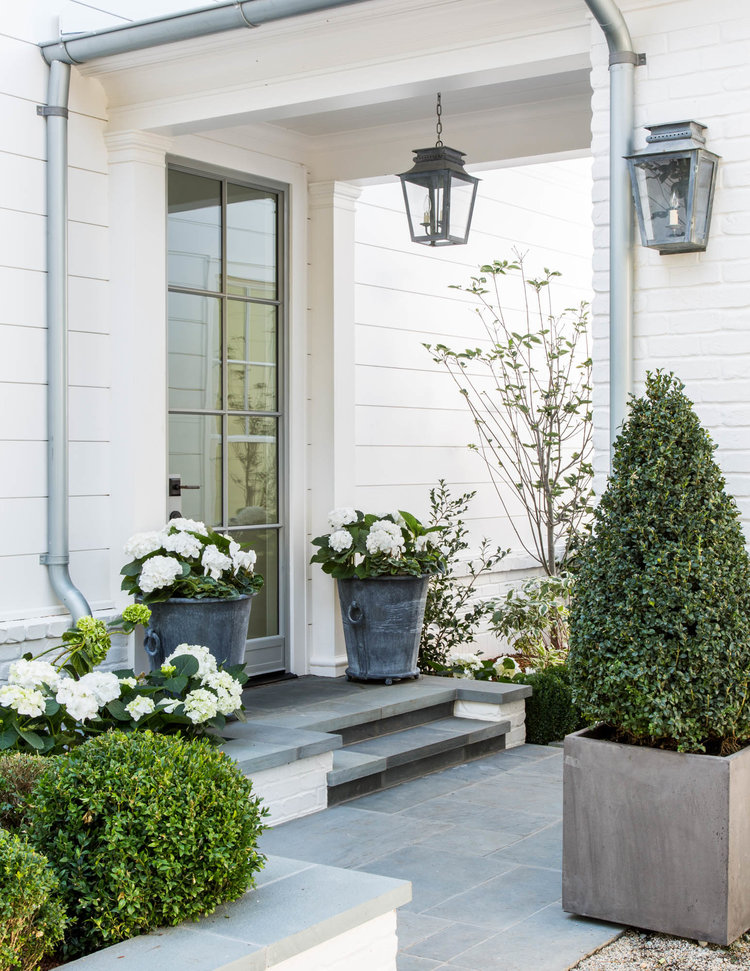 Breathtaking entry to modern farmhouse with boxwood and hydrangea and lanterns