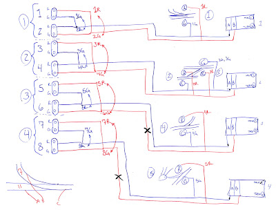 Planning sketch depicting wiring for the trackside signals