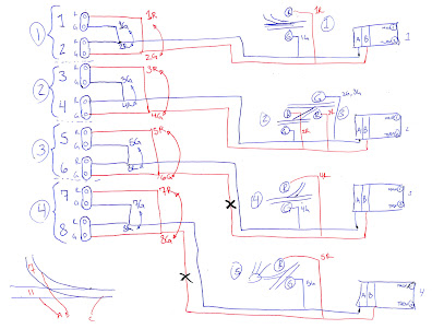 Planning sketch depicting wiring for LED trackside signals