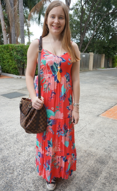 Kmart Tropicana sleeveless tiered maxi dress, Converse Chucks LV speedy bandouliere | awayfromtheblue