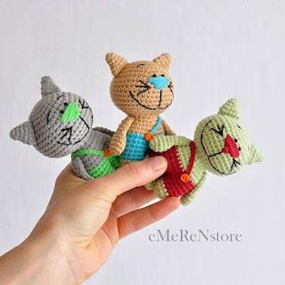 wzór kotków szydełkiem