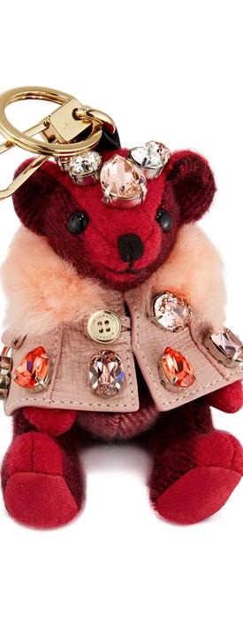 Burberry Thomas Cape Bear Bag Charm, Fuchsia Pink