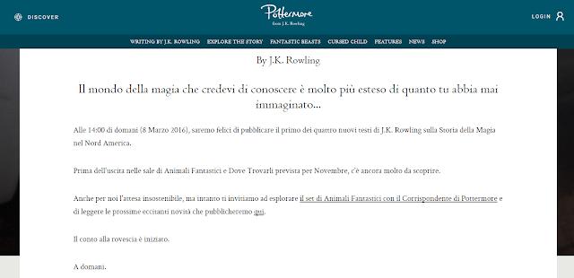 L'annuncio in italiano su Pottermore
