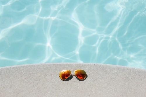 pool, sunglasses, body confidence