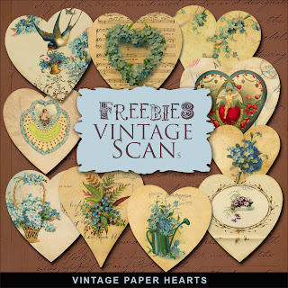 Freebies Kit of Vintage Paper Hearts
