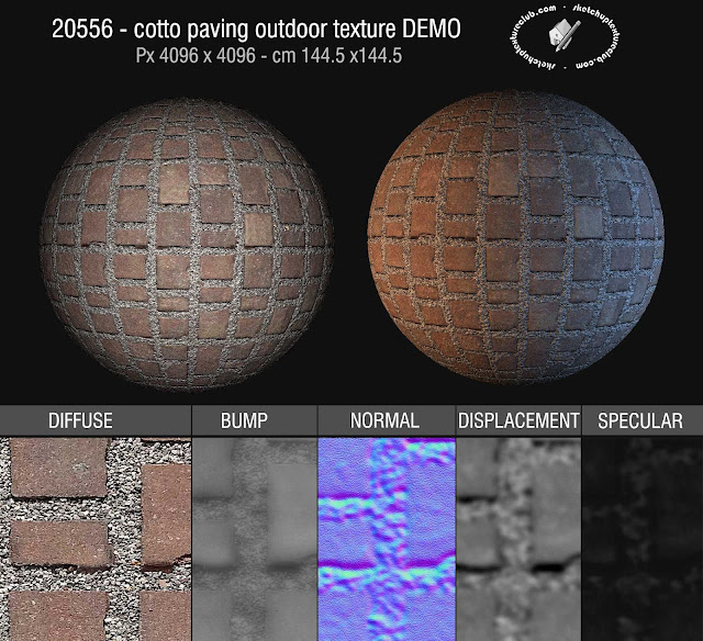 20556 Cotto paving outdoor texture seamless + maps