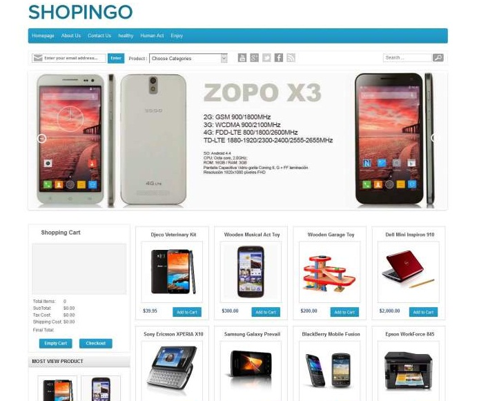 DOWNLOAD FREE Shopingo Responsive ECommerce Blogger Template - Responsive shopping cart template