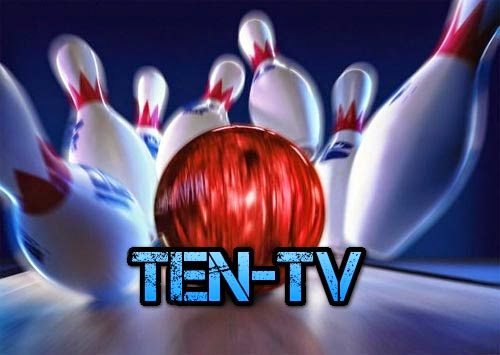 TEN Bowling Pins with the words TEN-TV and a great big bowling ball smashing into them.