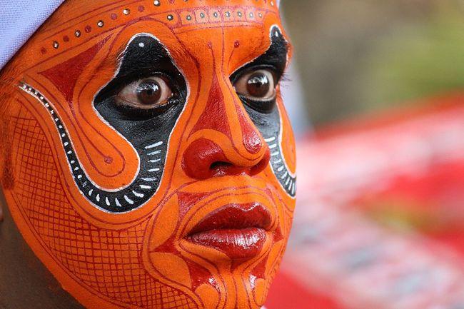 Makeup of Nagakkali Theyyam
