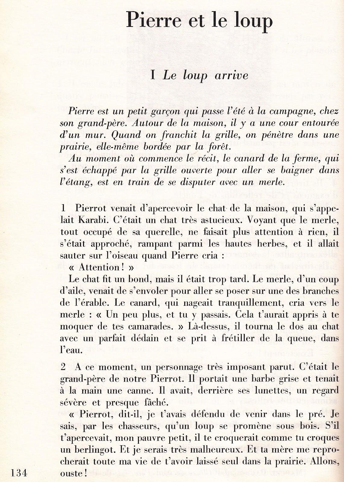 Pierre Et Le Loup Texte : pierre, texte, école, Références:, GEORGES, DUHAMEL, Pierre