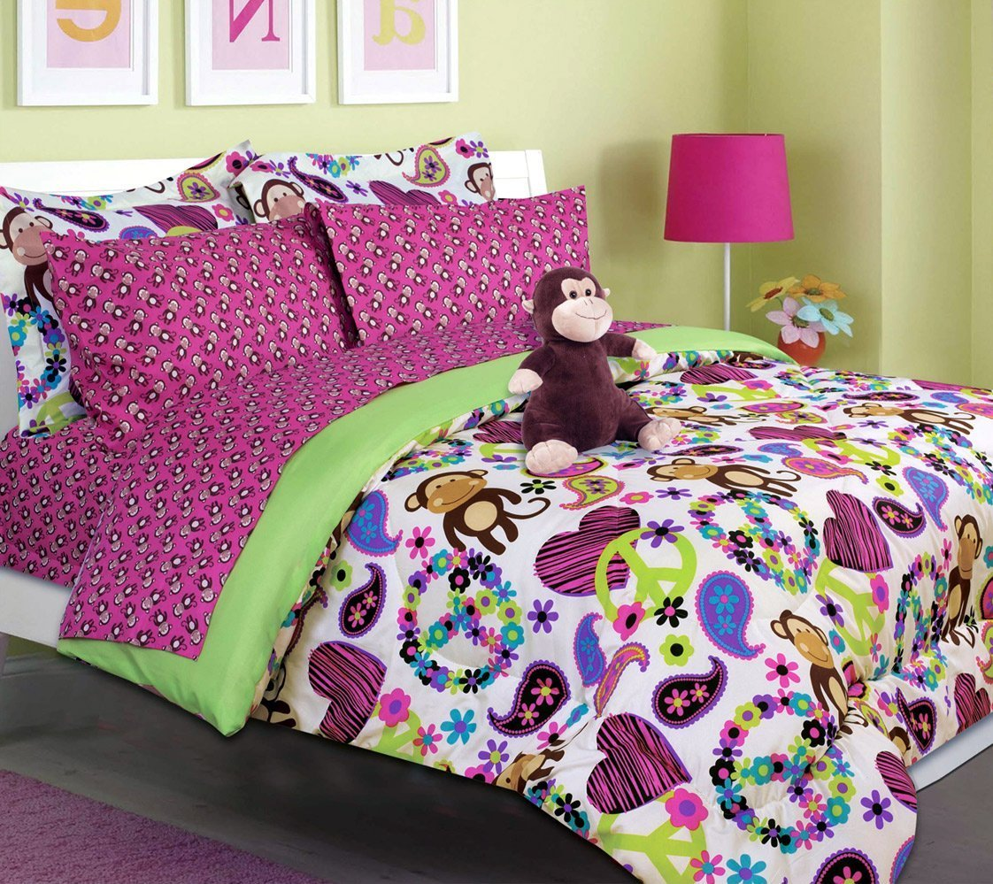Lime Green And Pink Bedding - Purple and lime green comforter sheet set for girls