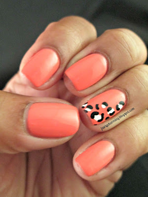 sinful colors hazard, leopard print, animal print, coral, orange, nials, nail art, nail design, mani