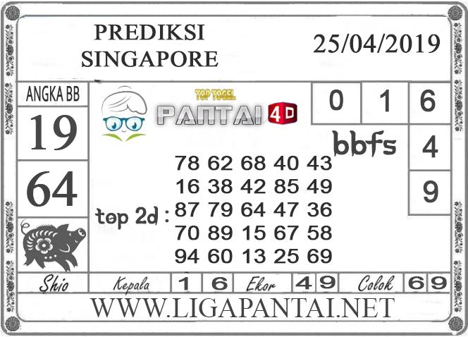 """Prediksi Togel """"SINGAPORE"""" PANTAI4D 25 APRIL 2019"""