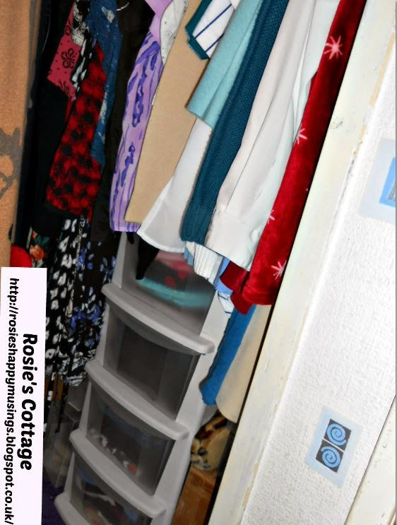 A small chest of plastic storage drawers under the clothes rail sorts items such as socks and yoga pants.