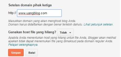 """Masukkan domain .com dengan www, kemudian klik """"Simpan"""""""