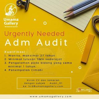lowongan kerja admin audit umama gallery bandung