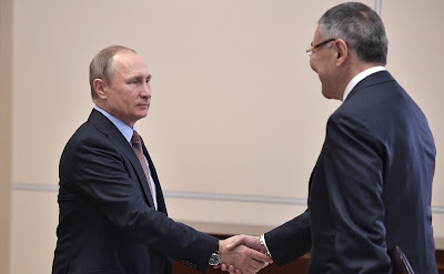 Vladimir Putin at a meeting with Head of Kalmykia Alexei Orlov.