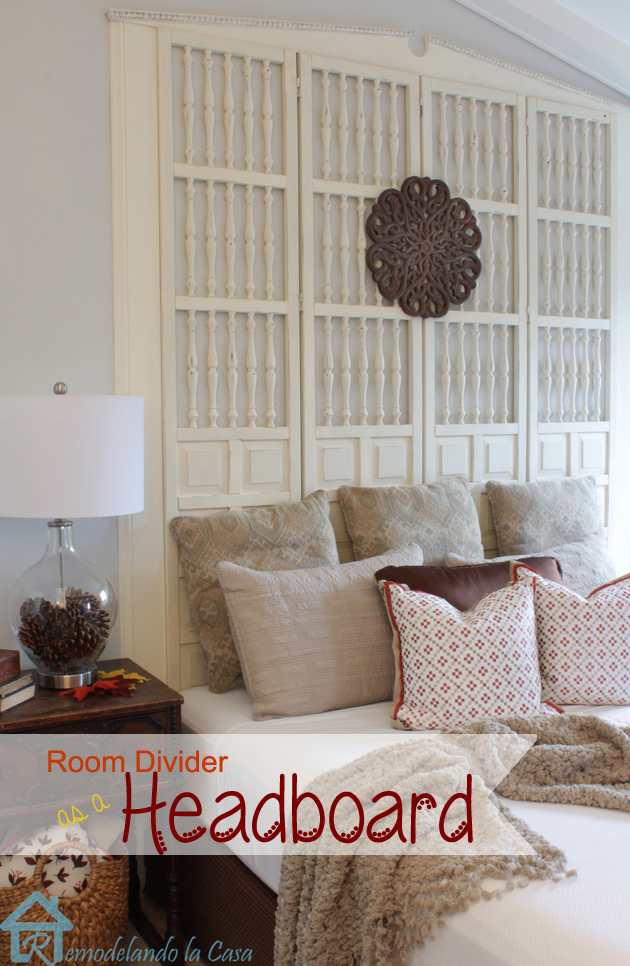 diy room divider/screen used as a headboard